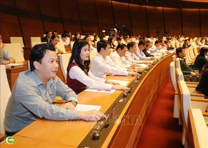 Đại biểu Quốc hội tỉnh Hà Tĩnh biểu quyết thông qua Nghị quyết về dự toán ngân sách nhà nước năm 2019.